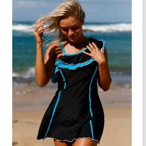 Swim - Black & Blue Ruffle Swimdress NWT